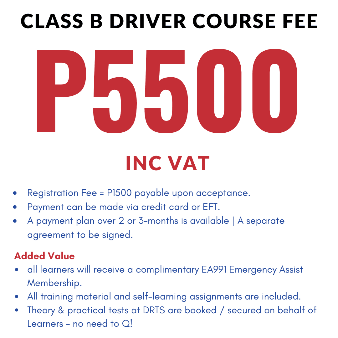 Course cost for Class B – Foundation Certificate in Driving