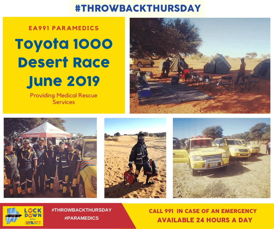 Pictures showing the emergency medical rescue team at the 2019 Toyota Desert 1000 Race held in Botswana