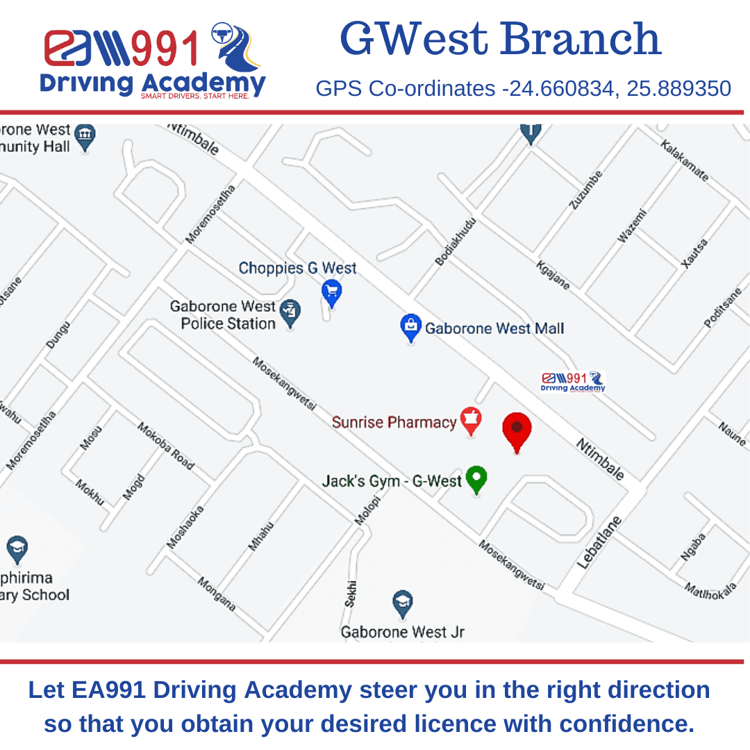 location Map EA991 Driving Academy Gwest Branch, Gaborone