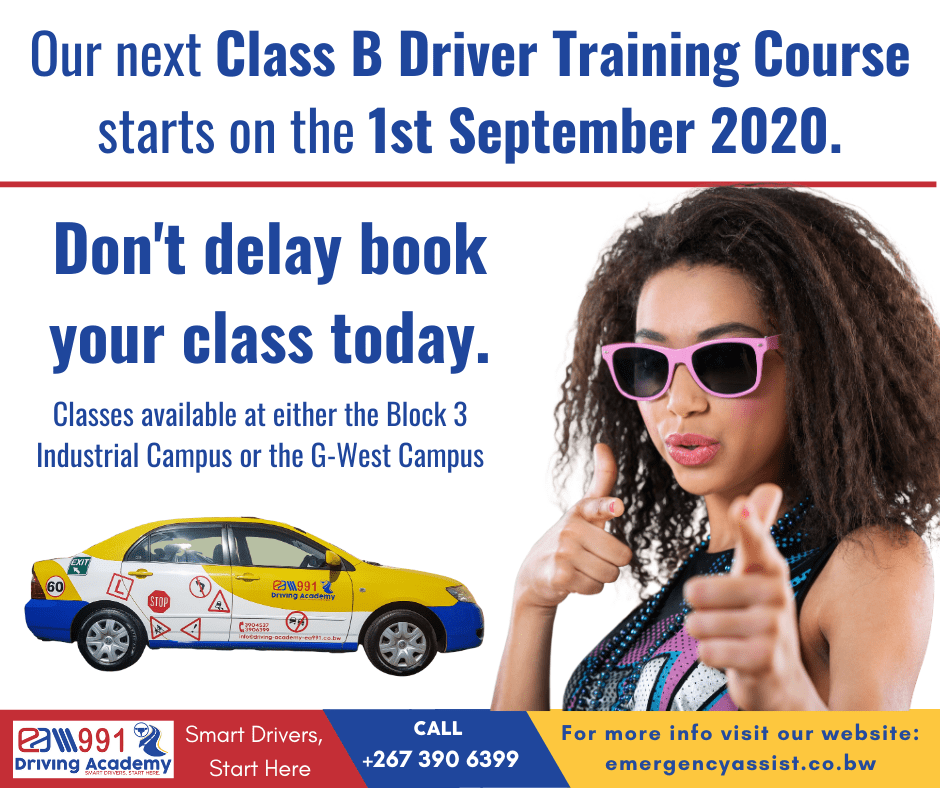 Our Class B Course Starts on 1st September or the G-West Campus in Gaborone.
