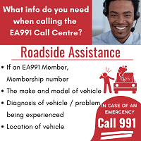 What information is needed when calling the Emergency Assist 991 call centre for Roadside Assistance